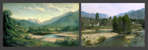 Franconia Notch by Geroge Albert Frost (left); Franconia Notch in 2004 (right)
